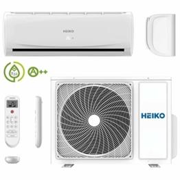 HEIKO Klimaanlage Wohnung - Komplett Set Inkl. 5m Leitungen und Anschlüsse - 3,6 kW 12000 BTU 55 m2 - R32 Split Inverter Klimagerät JS036-B1-JZ036-B1 - 1