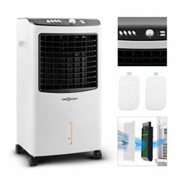 oneConcept MCH-2 V2 mobiles Klimagerät Luftkühler Ventilator zusätzliche Luftbefeuchtungs- und Luftreinigungsfunktion (65 Watt, 400 m³/h Luftdurchsatz, inkl. 2 x Kühlakku) schwarz-weiß - 1