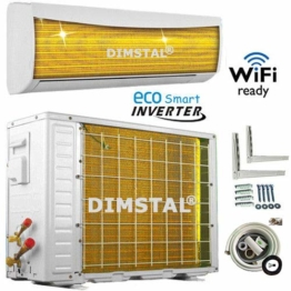 A++/A++ INVERTER Split Klimaanlage mit Wärmepumpe Klimagerät ECO Smart WiFi/WLAN-Ready 12000 BTU 3,5 kW komplett Set inkl. 3m Kupferleitungen mit Heizfunktion - 1