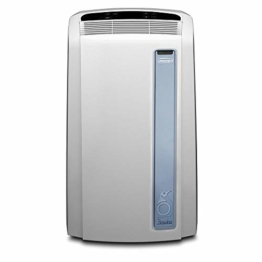 De'Longhi Pinguino PAC AN98 ECO Silent - mobiles Klimagerät mit Abluftschlauch, Klimaanlage für Räume bis 95 m³, Luftentfeuchter, Ventilationsfunktion, 24h-Timer, 2,7 kW, 75 x 45 x 39,5 cm, weiß/blau - 1