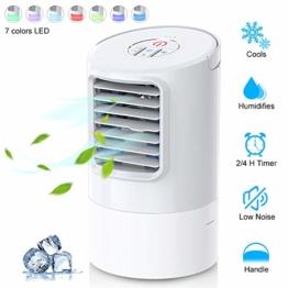 Mobile Klimageräte, Uvistare Mini Persönliche Klimaanlage, 4 in 1 Luftkühler Luftreiniger Luftbefeuchtung Ventilator, 2 Timer 3 Leistungsstufen 7 Verschiedene Farben, Weiß - 1