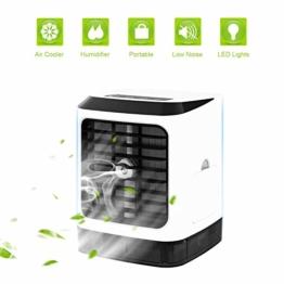 Tragbare Klimaanlage Air Cooler Luftbefeuchter,4in1 Mobile Klimaanlage Luftreiniger Büro Desktop-Luftkühler Mini-Ventilator für Zuhause, drinnen, Küche, im Freien - 1