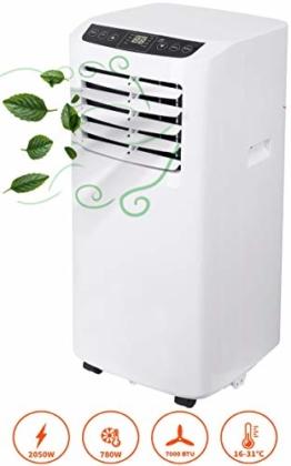 3in1 Mobile Klimaanlage | 7000 BTU | 2050 Watt | Aircooler | Klimagerät | Klima Ventilator mit Fernbedienung | Luftreiniger | Klima Anlage | Air Cooler | 2 Geschwindigkeitsstufen - 1