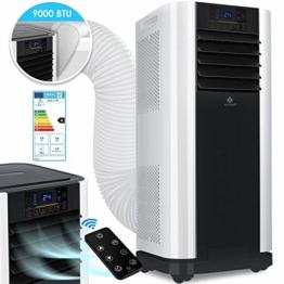 KESSER® - Klimaanlage Mobiles Klimagerät 4in1 kühlen, Luftentfeuchter, lüften, Ventilator - 9000 BTU/h (2.600 Watt) 2,6KW - Klima mit Montagematerial, Fernbedienung und Timer, Nachtmodus (EEK: A) - 1