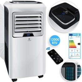 KESSER® - Klimaanlage Mobiles Klimagerät 4in1 kühlen, Luftentfeuchter, lüften, Ventilator - 12.000 BTU/h (3.500 Watt) 3,5 KW Klima + Montagematerial Fernbedienung und Timer Nachtmodus EEK: A Weiß - 1