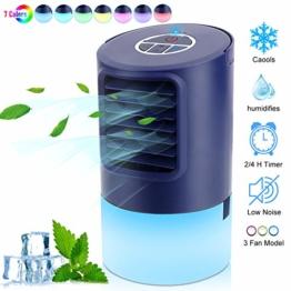 Mobile Klimaanlage Mini Luftkühler Luftbefeuchter Klein Persönliche Klimaanlage, Tragbare 4 in 1 Verdunstungsgerät Lufterfrischer Ventilator Nachtlichter, mit 2 Timer 3 Geschwindigkeiten 7 Farben LED - 1