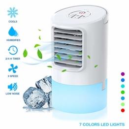 Nobebird mobile Klimagerät Klimaanlage Luftkühler tragbar Ventilator Luftbefeuchtung, 2 Timing, 3 Windgeschwindigkeiten,7 verschiedene Farben,Weiß - 1