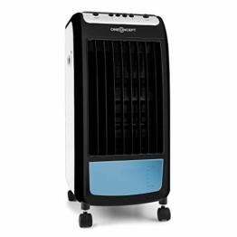 oneConcept Carribean Blue - Luftkühler mit Luftreinigungs- und Befeuchtungsfunktion, 4 Liter Wassertank, 75 W, Boderollen, 3 Geschwindigkeitsstufen, 400 m³/h, inkl. 2 x Eisbox, blau-schwarz - 1