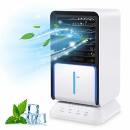 Klimaanlagen mit Wasserkühlung, Klimagerät, Luftkühler mit Verdunstungskühlung, Ventilator Verdunstungskühler, mit Luftbefeuchtung und Nachtmodus, mit Timer und 90° Drehfunktion - 1