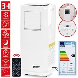 Mobile HECHT Klimaanlage mit 8 Funktionen (NEU) – Kühlen, Lüften, Entfeuchten – lokales Klimagerät – leise – mit Fernbedienung, Abluftschlauch und Fensterabdichtungs-Set – Klimaanlage mobil - 1