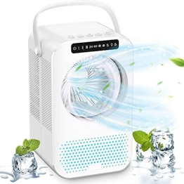 Mobile Klimaanlage Mini 4 in 1 Persönliche Klimageräte Leise Ventilator mit 2/4H Timer Luftbefeuchter 3 Stufen 7 Nachtlichter PU Licht tragbar Air Cooler für Home Office,Zuhause und Schlafzimmer - 1