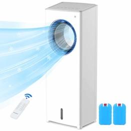 Mobile Klimaanlage ohne abluftschlauch 4 In 1 Klimageräte Leise 80W Luftkühler Klima mit Fernbedienung Luftbefeuchter Wasserkühlung automatisch oszillierend, 8H Timer 3 Stufen Luftreiniger (Medium) - 1