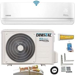Quick-Connect INVERTER Split Klimaanlage mit Wärmepumpe Klimagerät ECO Smart WiFi/WLAN komplett Set inkl. 5m Kupferleitungen mit Heizfunktion - 1